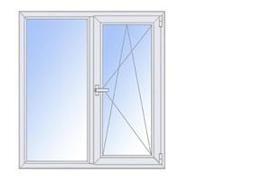 Окно ПВХ двухстворчатое с/п 32 2-кам с одной поворотно-откидной створкой ALPENPROF