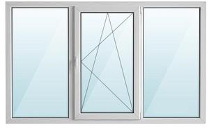 Окно ПВХ трехстворчатое с/п 32 2-кам с одной поворотно-откидной створкой ALPENPROF