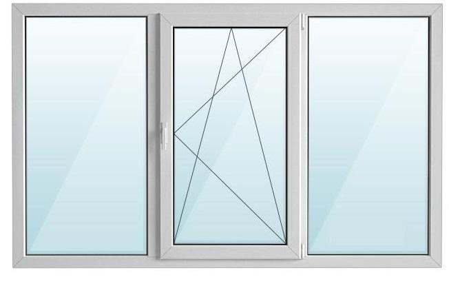 Окно ПВХ трехстворчатое с/п 32 2-кам с одной поворотно-откидной створкой GRAIN 3-кам