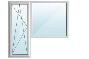 Окно ПВХ балкон угловой с/п 32 2-кам с поворотно-откидной дверью ALPENPROF