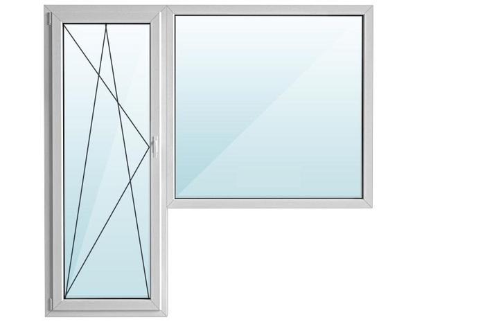 Окно ПВХ балкон угловой с/п 32 2-кам с поворотно-откидной дверью GOODWIN 5-кам
