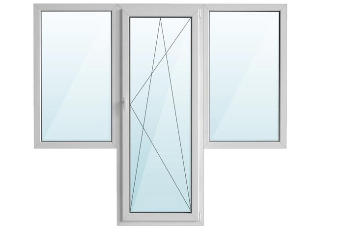 Окно ПВХ балкон бабочка с/п 40 2-кам с поворотно-откидной дверью REHAU 5-кам