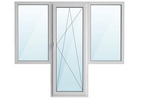Окно ПВХ балкон бабочка с/п 32 2-кам с поворотно-откидной дверью ARTEC